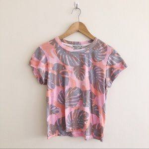 Wildfox Tropic Camo Palm Leaf Short Sleeve Tee